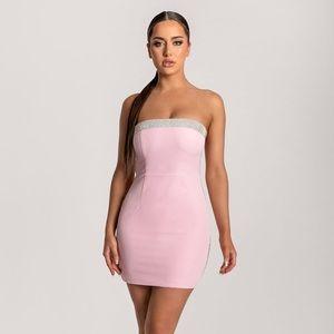 BNWT Strapless Diamante Trim Mini Dress - Pink
